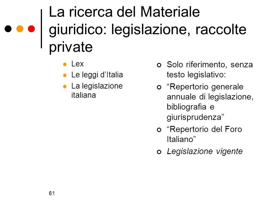La ricerca del Materiale giuridico: legislazione, raccolte private