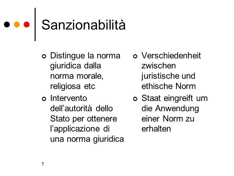 Sanzionabilità Distingue la norma giuridica dalla norma morale, religiosa etc.