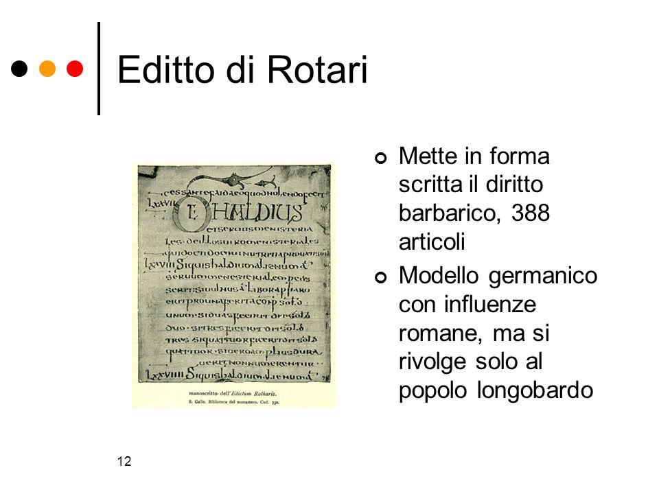 Editto di Rotari Mette in forma scritta il diritto barbarico, 388 articoli.