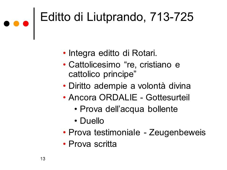 Editto di Liutprando, 713-725 Integra editto di Rotari.