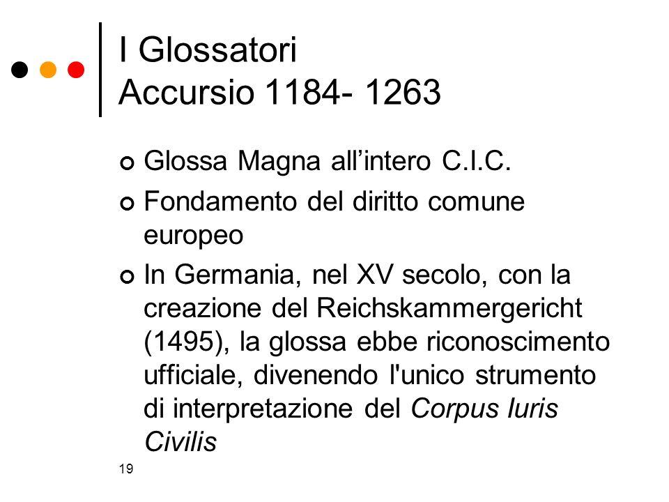 I Glossatori Accursio 1184- 1263