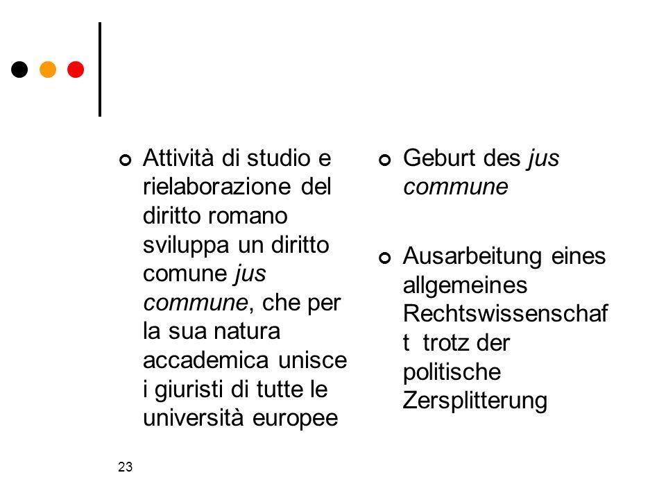 Attività di studio e rielaborazione del diritto romano sviluppa un diritto comune jus commune, che per la sua natura accademica unisce i giuristi di tutte le università europee