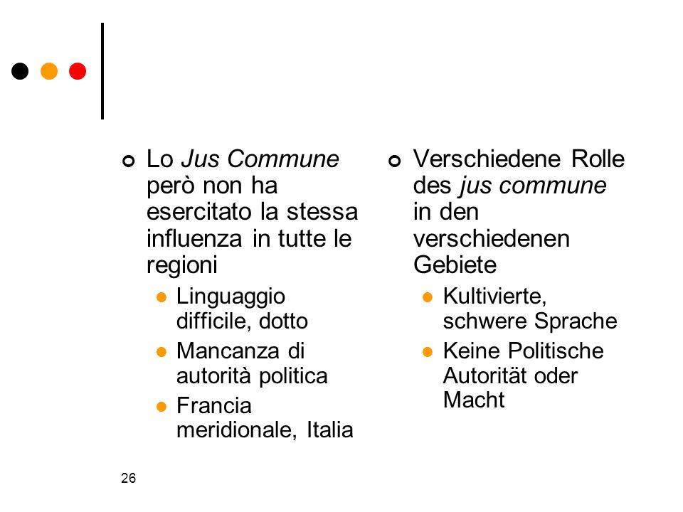 Verschiedene Rolle des jus commune in den verschiedenen Gebiete