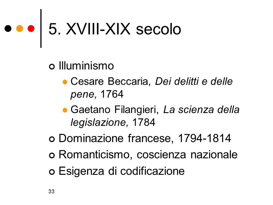 5. XVIII-XIX secolo Illuminismo Dominazione francese, 1794-1814