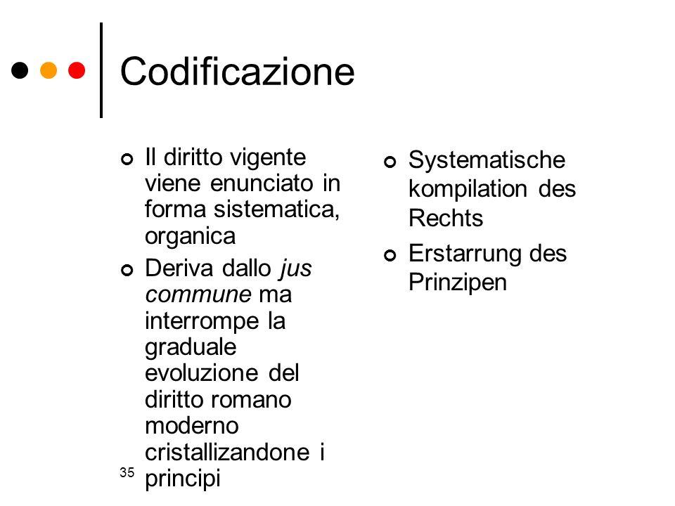 Codificazione Il diritto vigente viene enunciato in forma sistematica, organica.