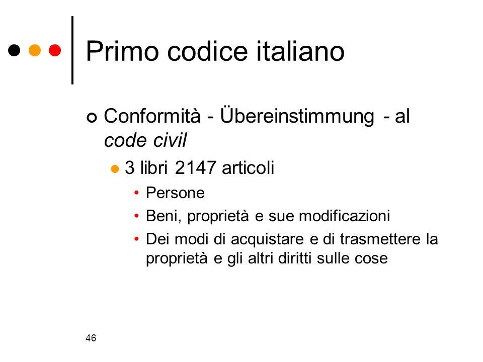Primo codice italiano Conformità - Übereinstimmung - al code civil