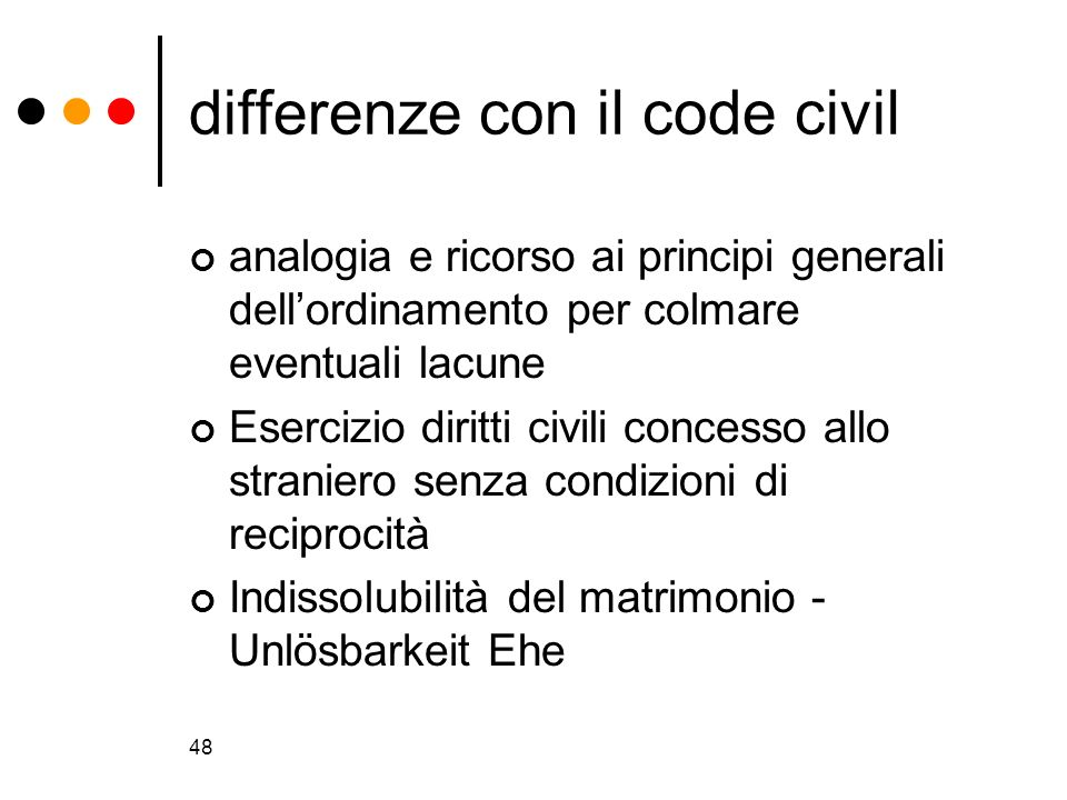 differenze con il code civil