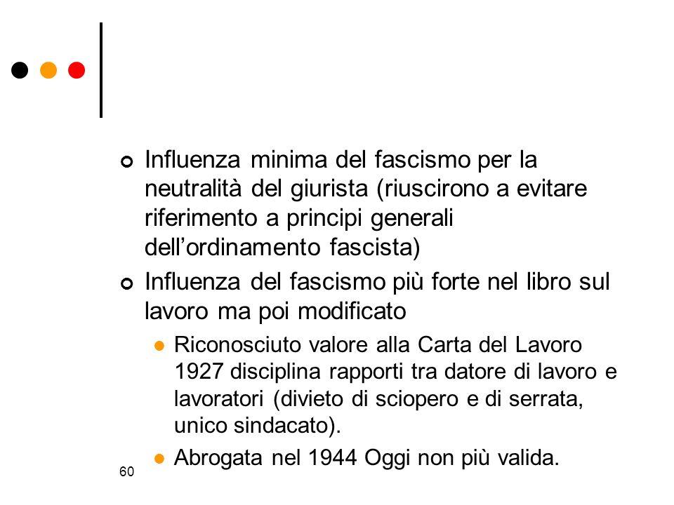 Influenza minima del fascismo per la neutralità del giurista (riuscirono a evitare riferimento a principi generali dell'ordinamento fascista)