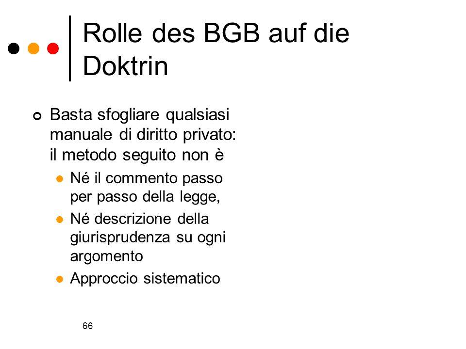 Rolle des BGB auf die Doktrin