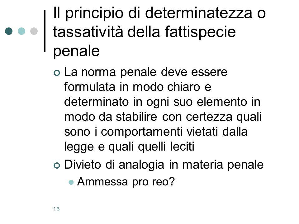 Il principio di determinatezza o tassatività della fattispecie penale
