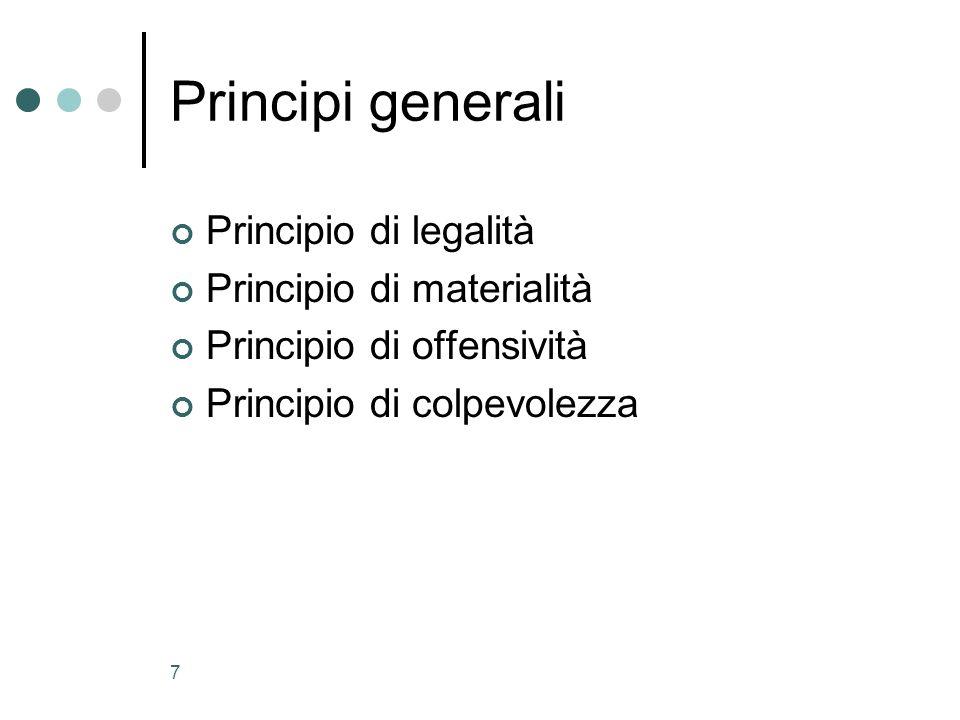 Principi generali Principio di legalità Principio di materialità