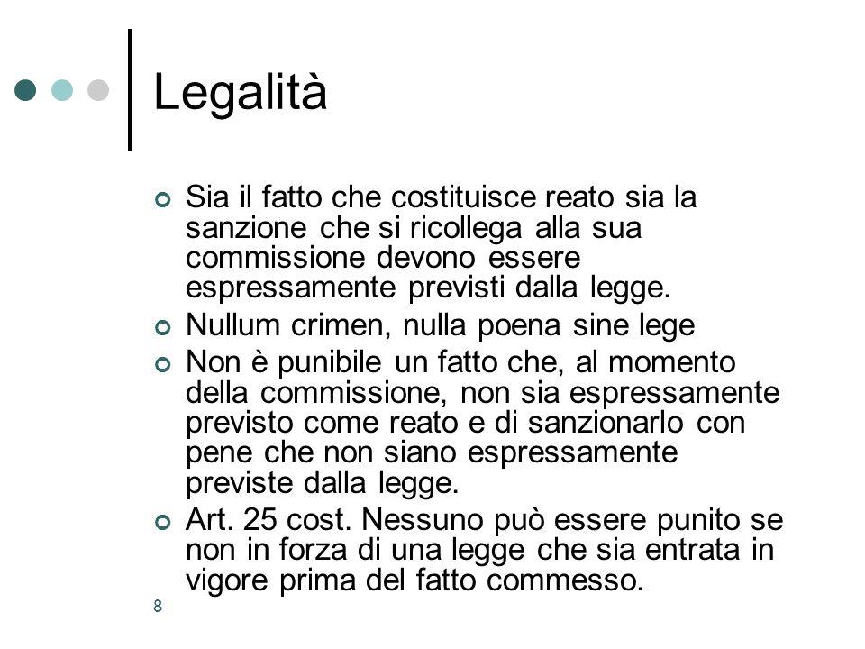 Legalità Sia il fatto che costituisce reato sia la sanzione che si ricollega alla sua commissione devono essere espressamente previsti dalla legge.