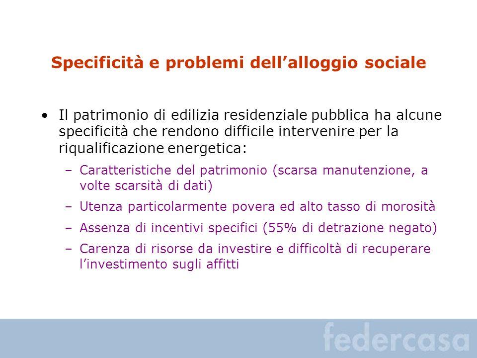 Specificità e problemi dell'alloggio sociale