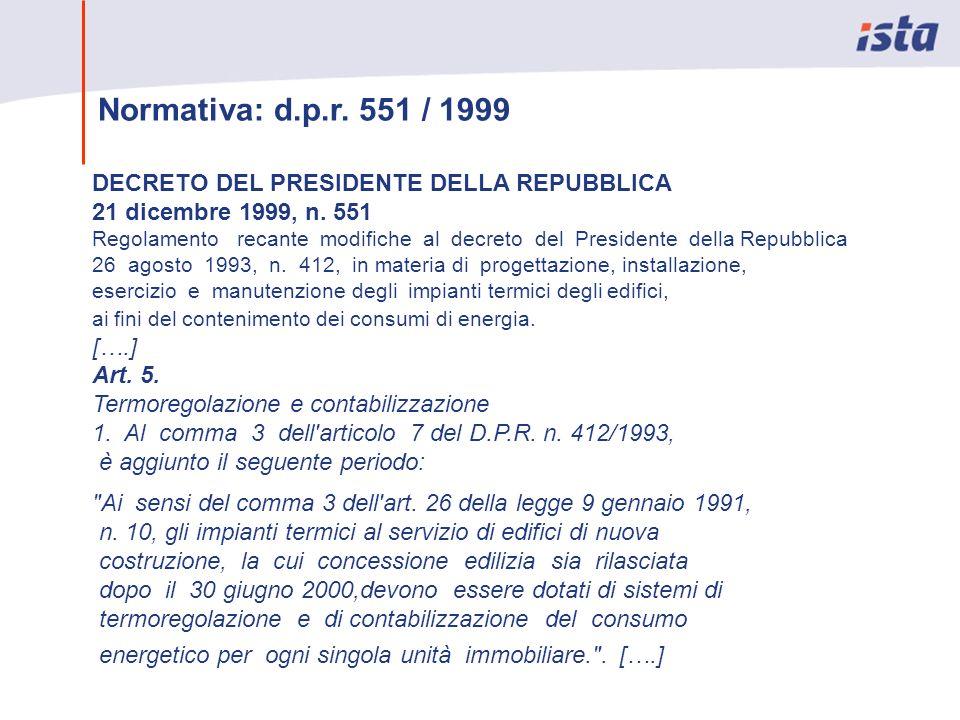 Normativa: d.p.r. 551 / 1999 DECRETO DEL PRESIDENTE DELLA REPUBBLICA