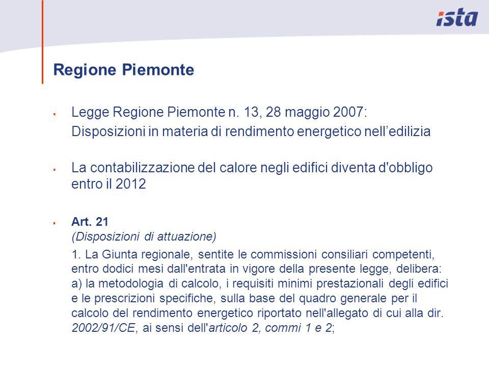Regione Piemonte Legge Regione Piemonte n. 13, 28 maggio 2007: