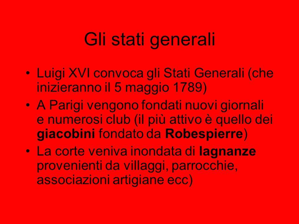 Gli stati generali Luigi XVI convoca gli Stati Generali (che inizieranno il 5 maggio 1789)