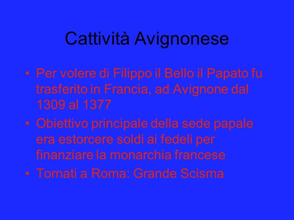 Cattività Avignonese Per volere di Filippo il Bello il Papato fu trasferito in Francia, ad Avignone dal 1309 al 1377.
