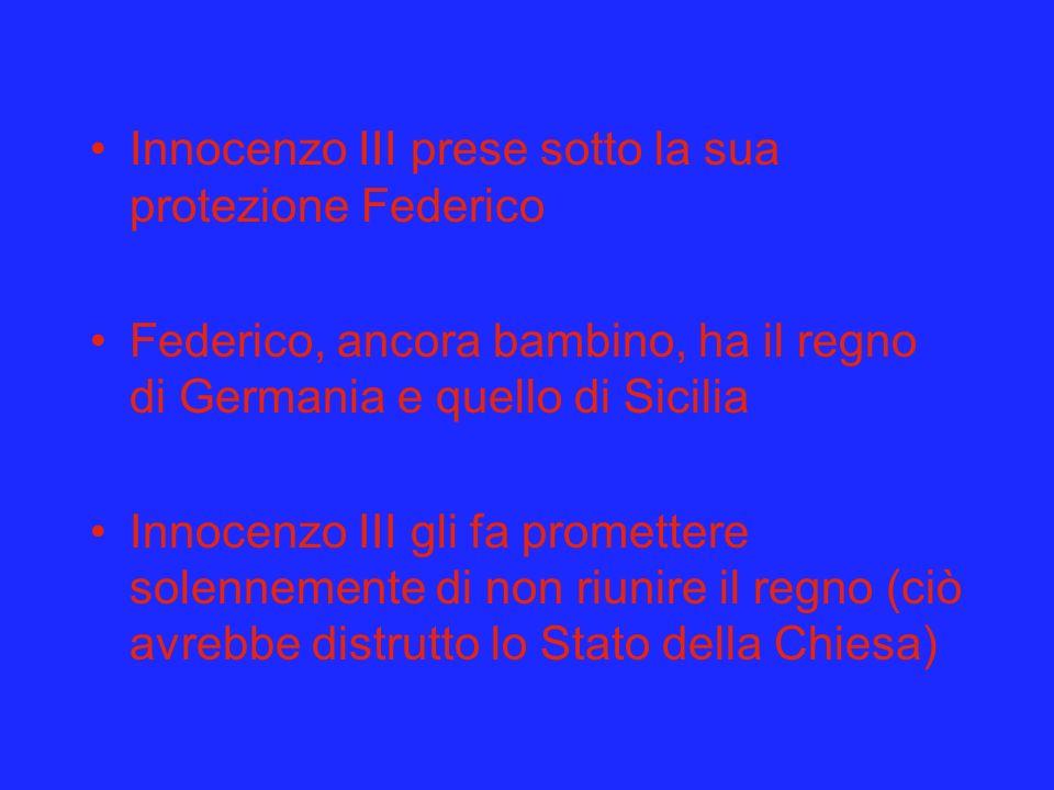 Innocenzo III prese sotto la sua protezione Federico