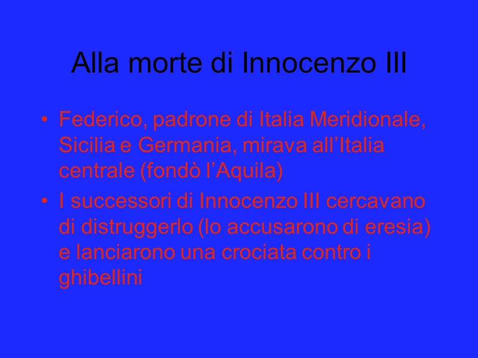 Alla morte di Innocenzo III