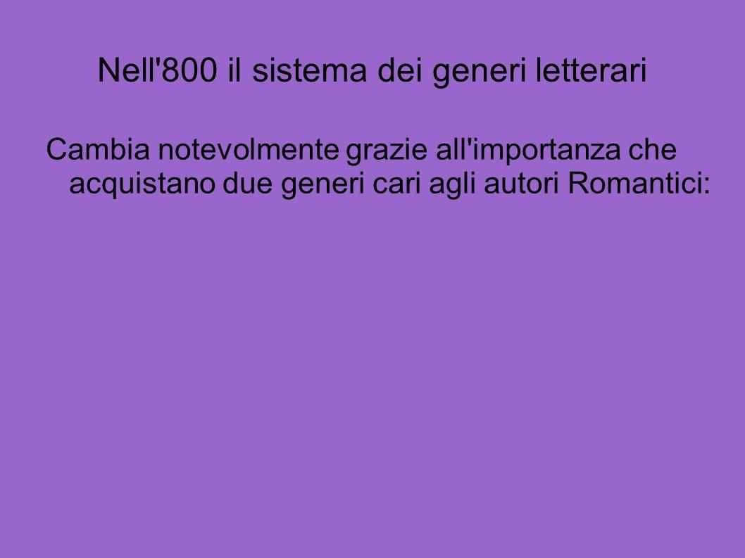 Nell 800 il sistema dei generi letterari