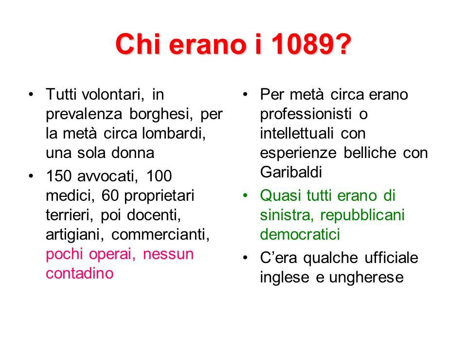 Chi erano i 1089 Tutti volontari, in prevalenza borghesi, per la metà circa lombardi, una sola donna.