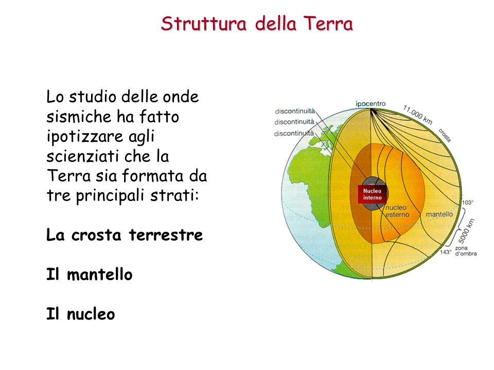 Struttura della Terra Lo studio delle onde sismiche ha fatto ipotizzare agli scienziati che la Terra sia formata da tre principali strati: