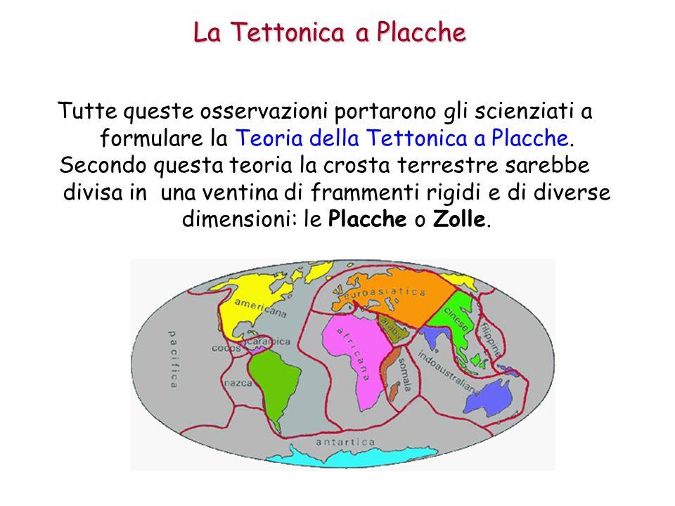 La Tettonica a Placche Tutte queste osservazioni portarono gli scienziati a formulare la Teoria della Tettonica a Placche.