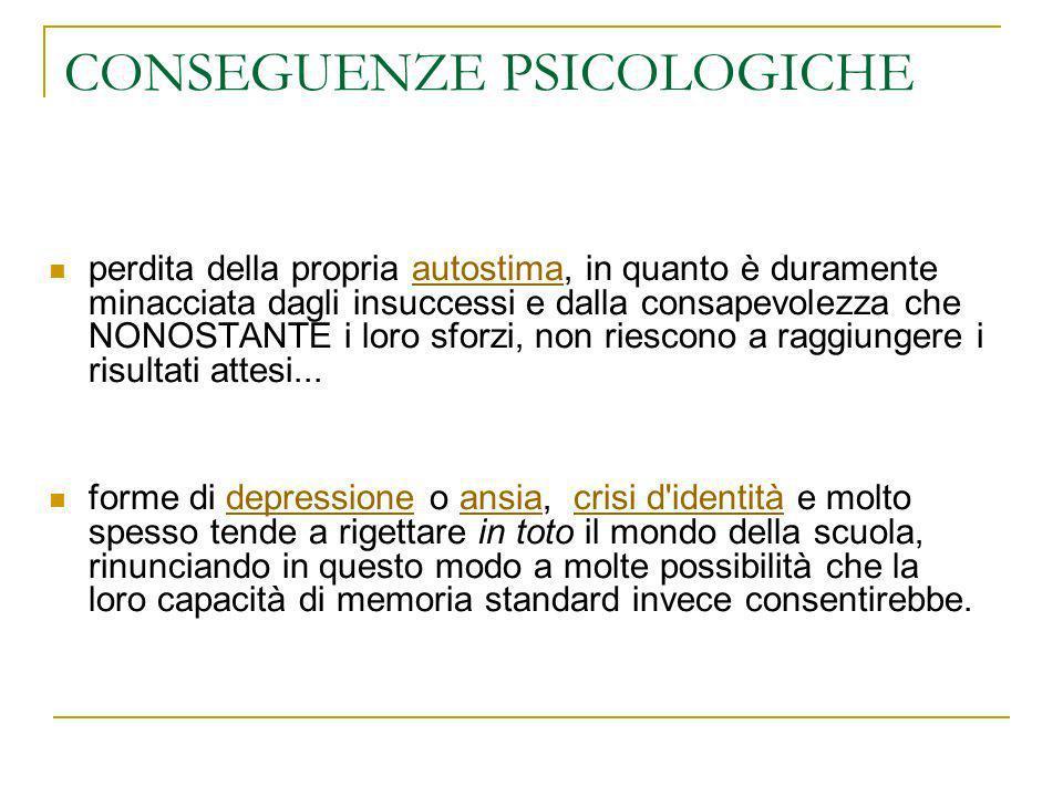 CONSEGUENZE PSICOLOGICHE