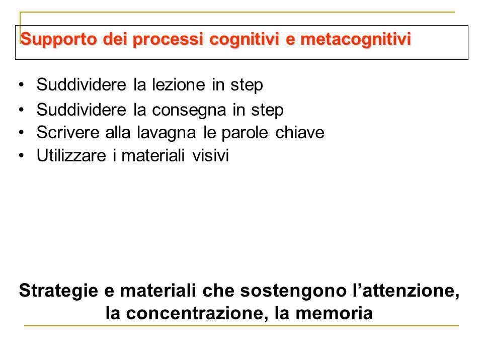 Supporto dei processi cognitivi e metacognitivi