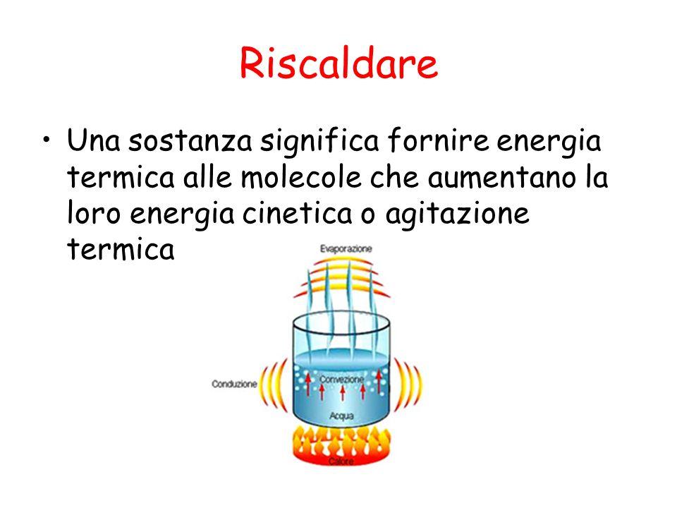 Riscaldare Una sostanza significa fornire energia termica alle molecole che aumentano la loro energia cinetica o agitazione termica.