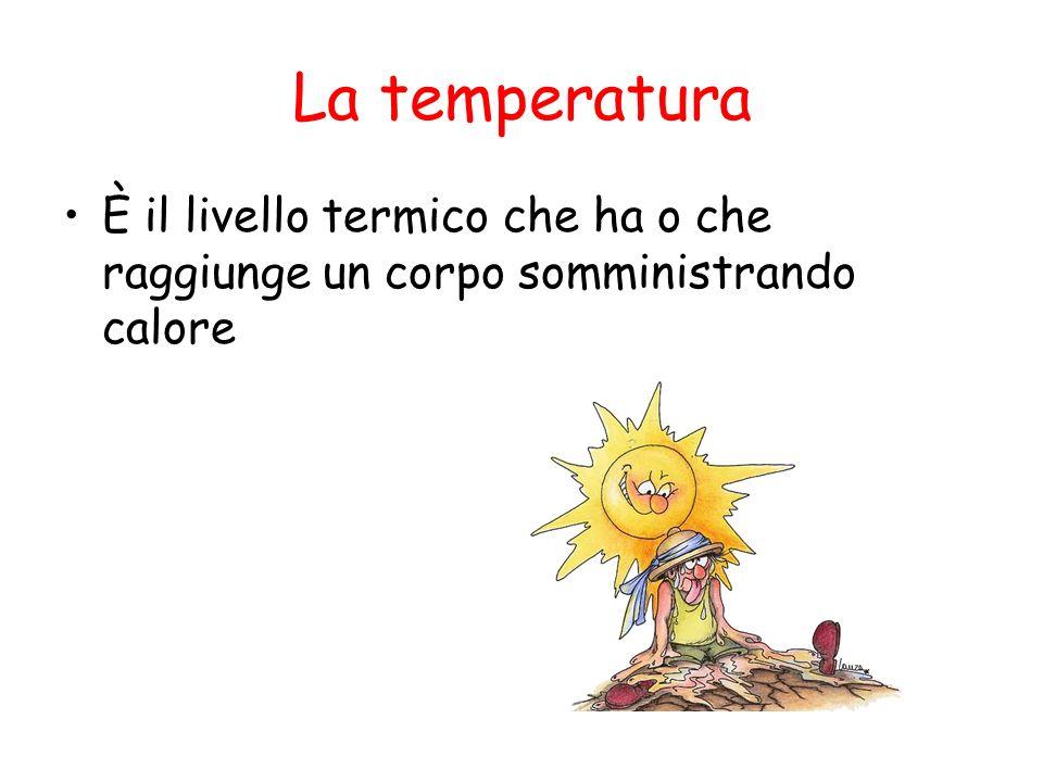 La temperatura È il livello termico che ha o che raggiunge un corpo somministrando calore