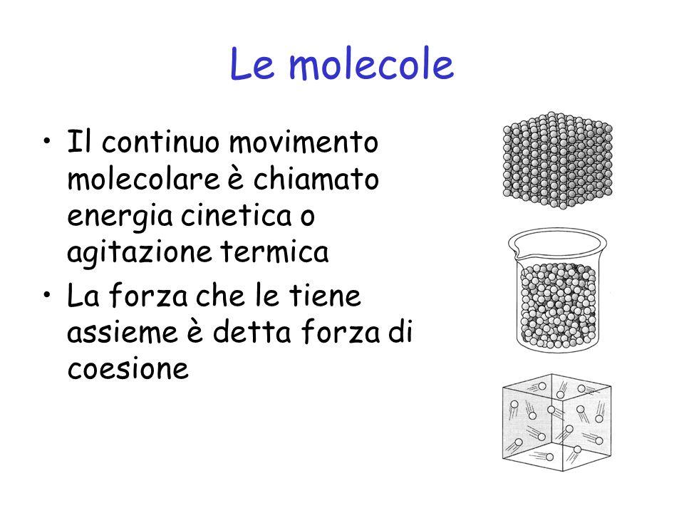 Le molecole Il continuo movimento molecolare è chiamato energia cinetica o agitazione termica.