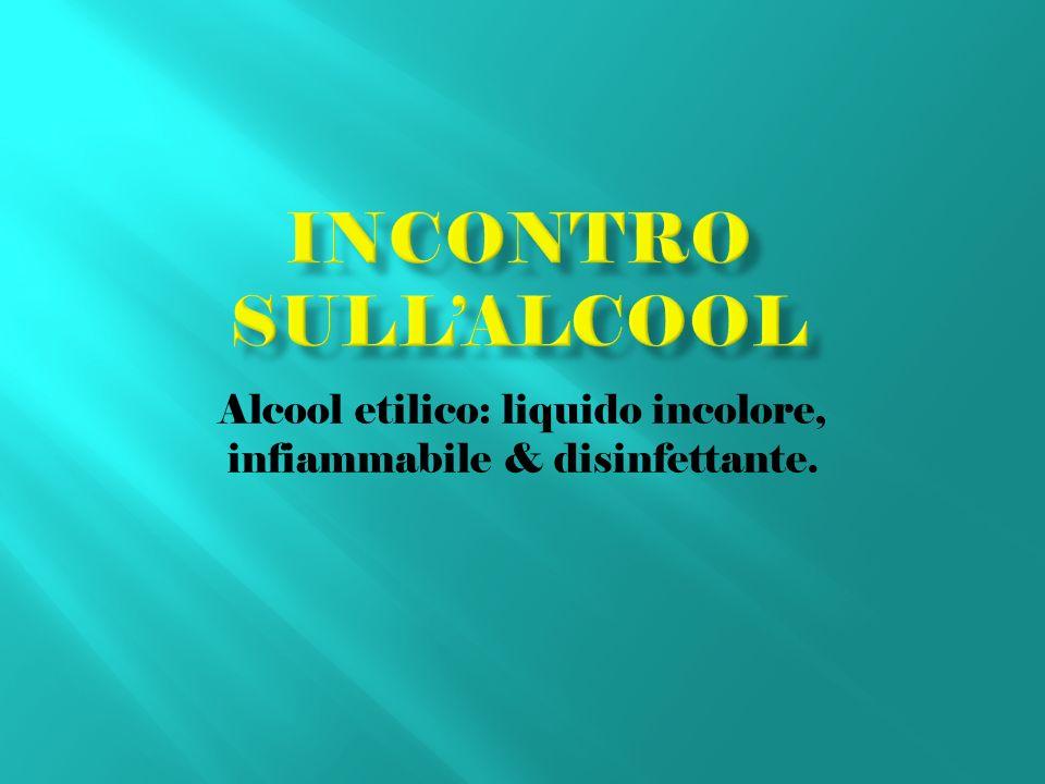Alcool etilico: liquido incolore, infiammabile & disinfettante.