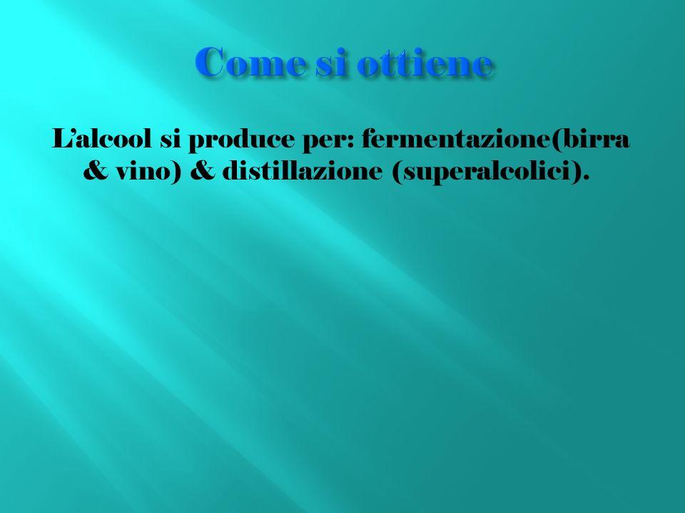 Come si ottieneL'alcool si produce per: fermentazione(birra & vino) & distillazione (superalcolici).