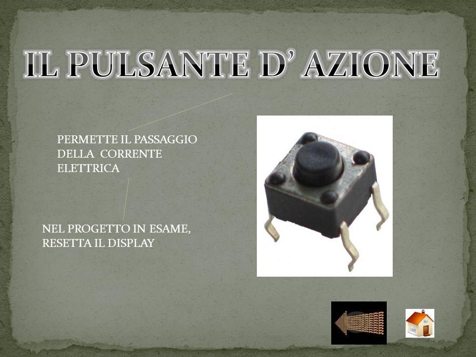 IL PULSANTE D' AZIONE PERMETTE IL PASSAGGIO DELLA CORRENTE ELETTRICA
