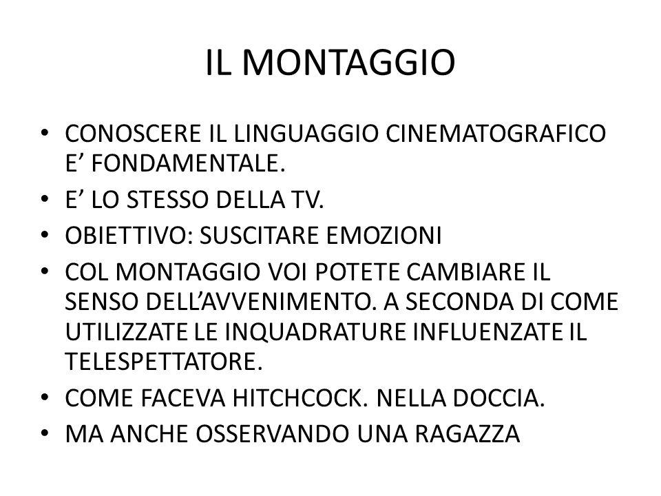 IL MONTAGGIO CONOSCERE IL LINGUAGGIO CINEMATOGRAFICO E' FONDAMENTALE.