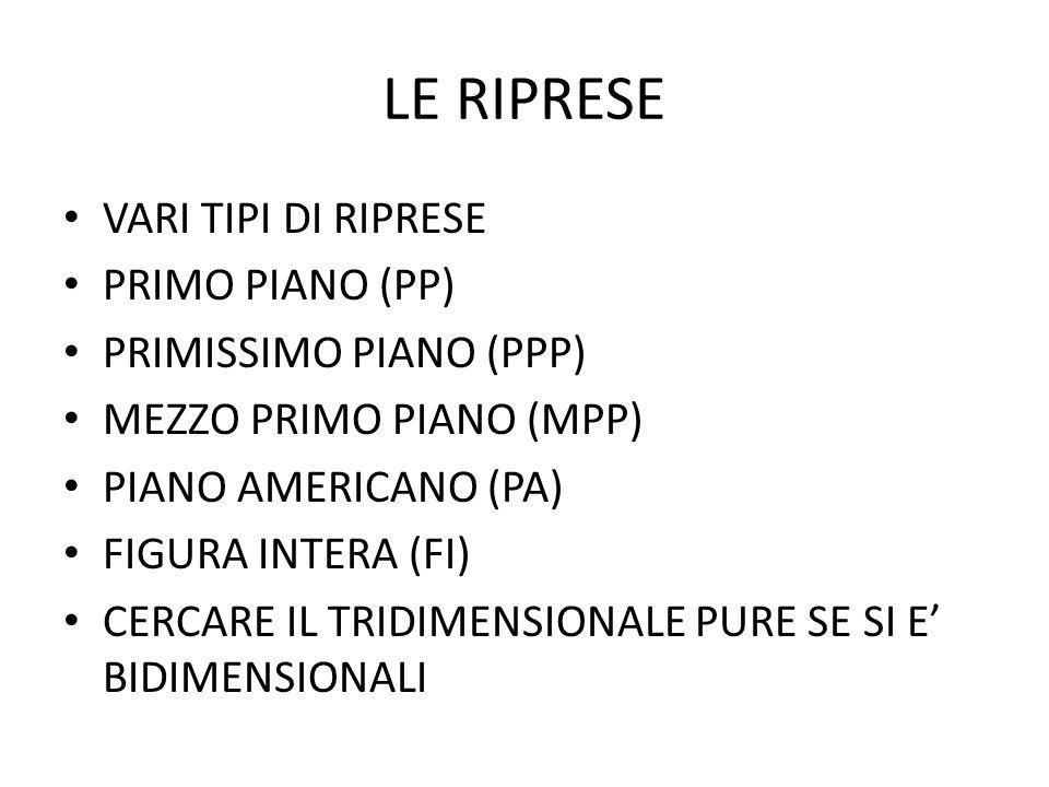 LE RIPRESE VARI TIPI DI RIPRESE PRIMO PIANO (PP)