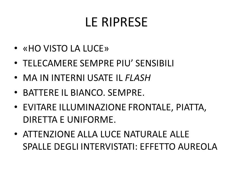 LE RIPRESE «HO VISTO LA LUCE» TELECAMERE SEMPRE PIU' SENSIBILI