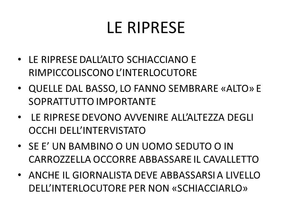 LE RIPRESE LE RIPRESE DALL'ALTO SCHIACCIANO E RIMPICCOLISCONO L'INTERLOCUTORE. QUELLE DAL BASSO, LO FANNO SEMBRARE «ALTO» E SOPRATTUTTO IMPORTANTE.