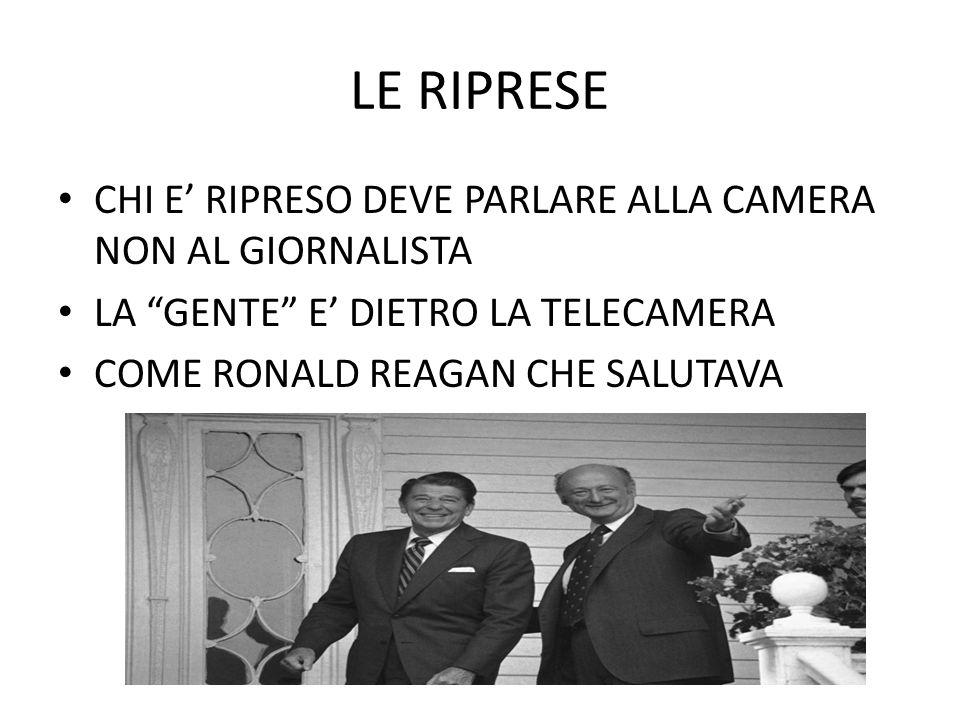LE RIPRESE CHI E' RIPRESO DEVE PARLARE ALLA CAMERA NON AL GIORNALISTA