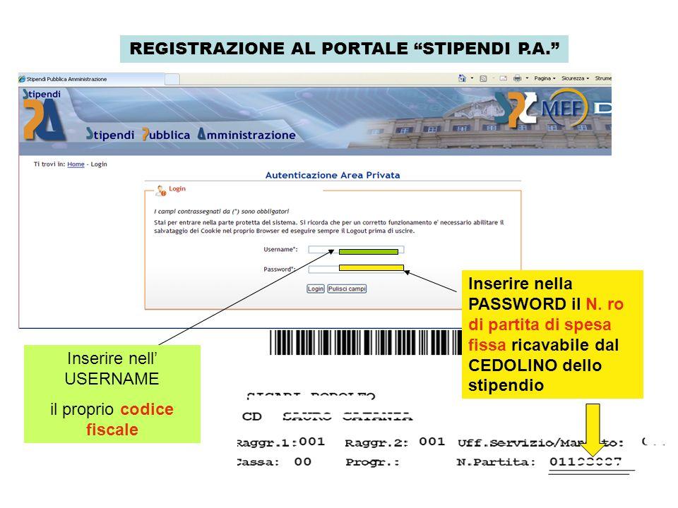 REGISTRAZIONE AL PORTALE STIPENDI P.A.