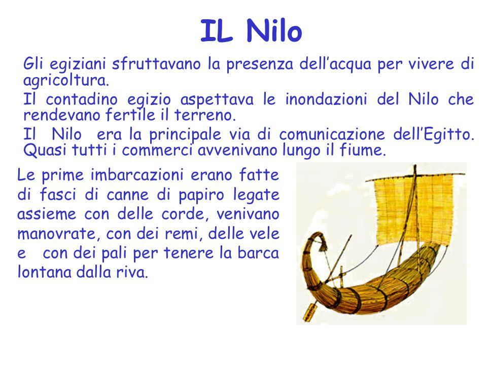 IL Nilo Gli egiziani sfruttavano la presenza dell'acqua per vivere di agricoltura.