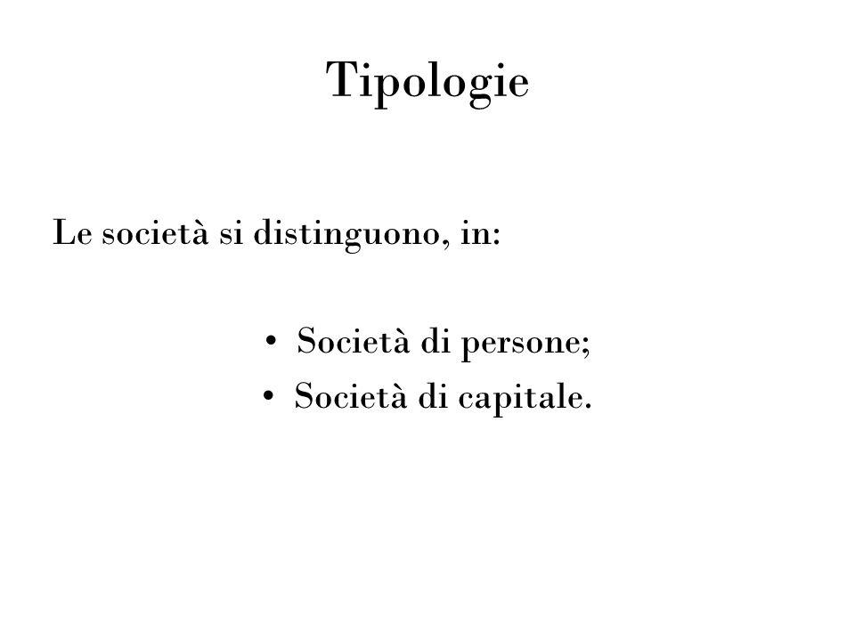 Tipologie Le società si distinguono, in: Società di persone;