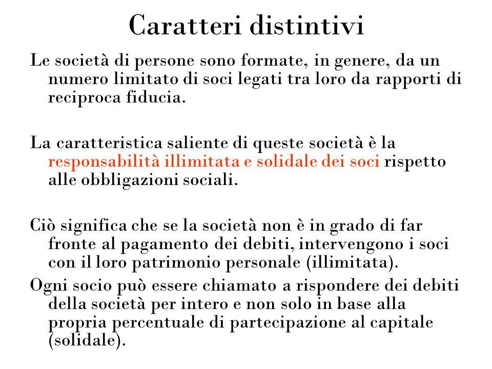 Caratteri distintivi Le società di persone sono formate, in genere, da un numero limitato di soci legati tra loro da rapporti di reciproca fiducia.