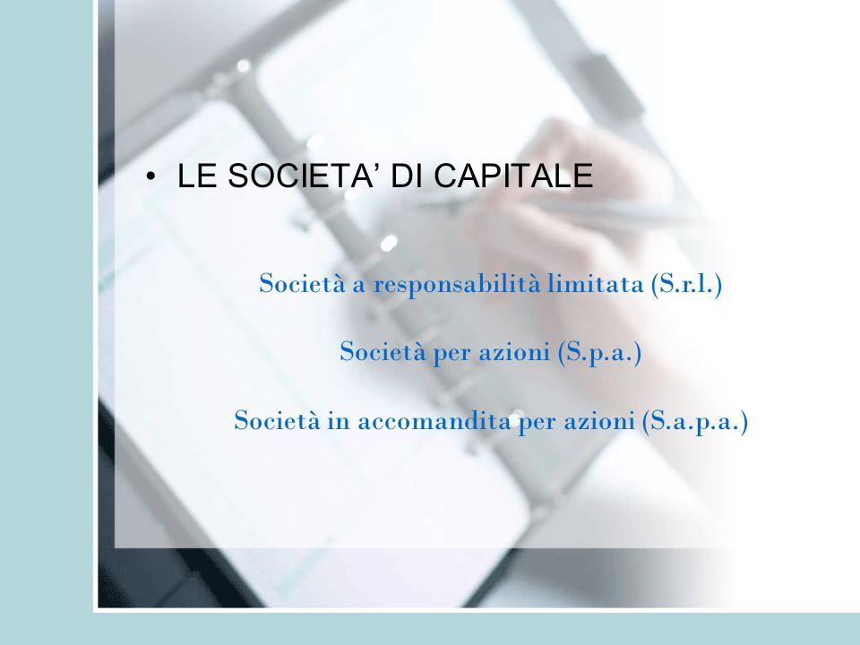 LE SOCIETA' DI CAPITALE