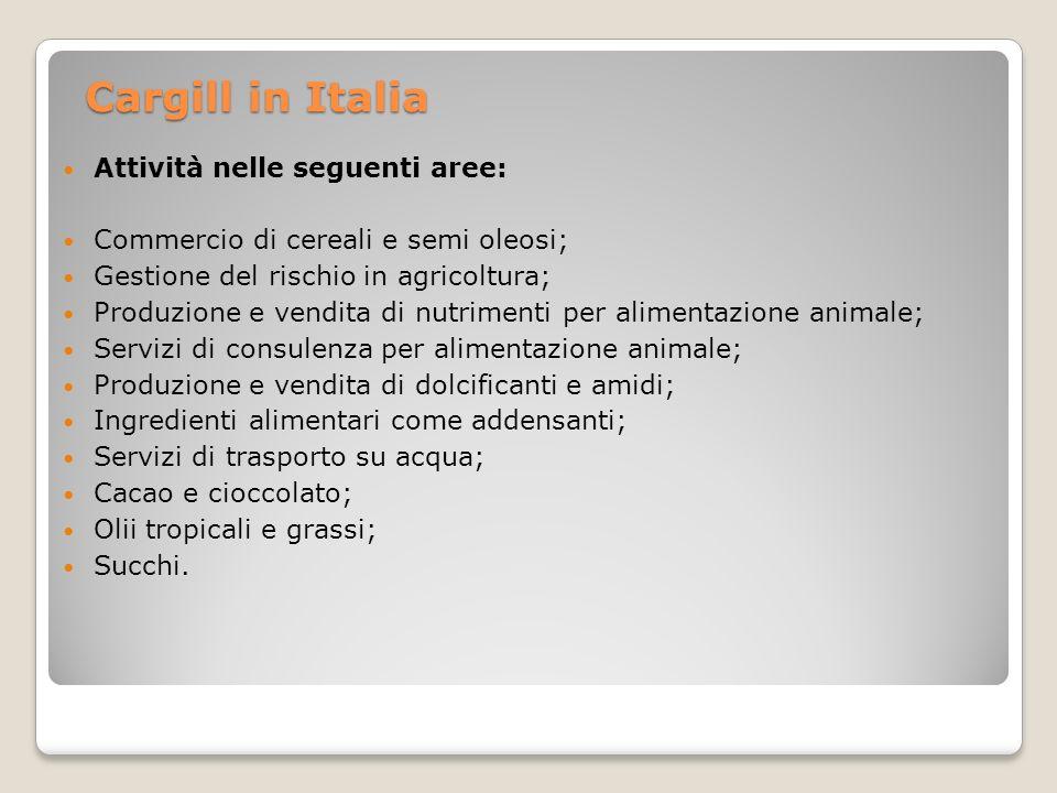Cargill in Italia Attività nelle seguenti aree: