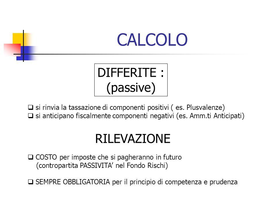 CALCOLO DIFFERITE : (passive) RILEVAZIONE
