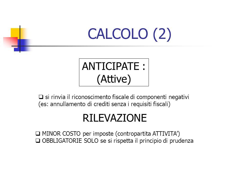 CALCOLO (2) ANTICIPATE : (Attive) RILEVAZIONE