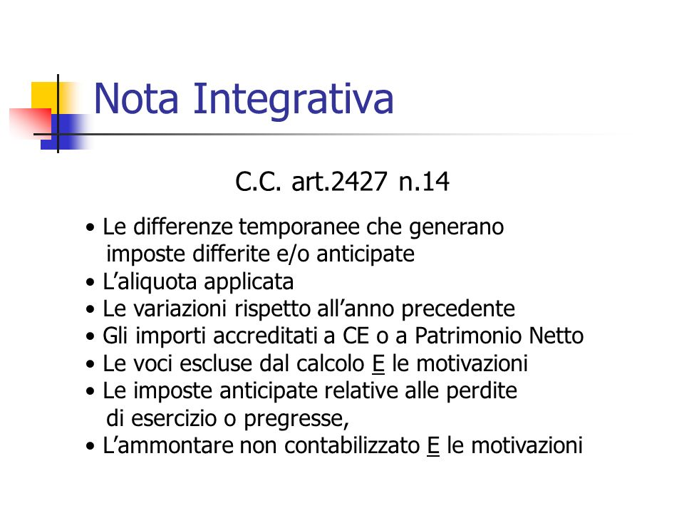 Nota Integrativa C.C. art.2427 n.14