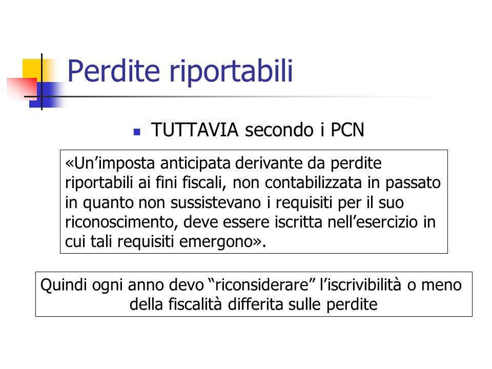 Perdite riportabili TUTTAVIA secondo i PCN